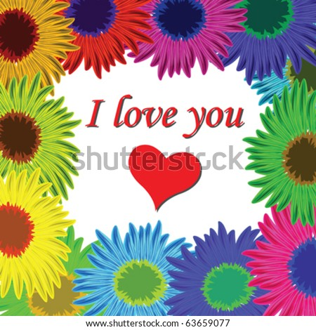 flowers frame with text, abstract vector art illustration - stock vector