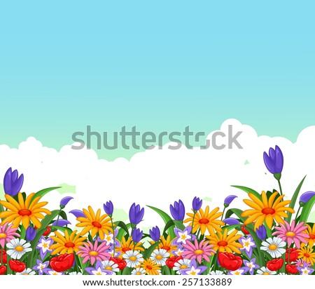 flowers garden for you design - stock vector