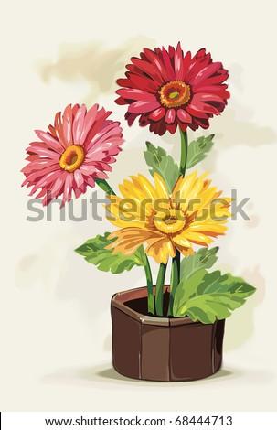 Flowers Gerbera in a pot on light background, Elegance retro vector illustration. - stock vector