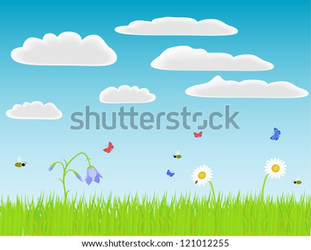 Flowers, grass and bugs. Vector illustration.