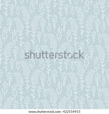 Flowers. Hand drawn doodle Wild Flowers. Floral Seamless pattern - Vector illustration. Light blue Floral background. Wildflowers. Grass. - stock vector
