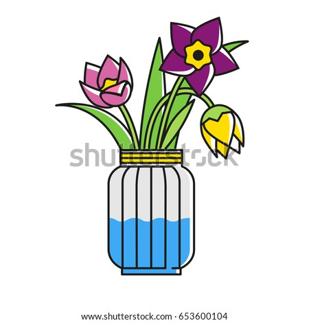 Flowers Glass Jar Narcissus Tulips Fancy Stock Vector 653600104
