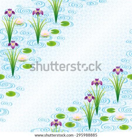 Flowers in a Japanese water garden - stock vector