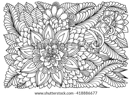 Flowers Black White Doodle Art Coloring Stock Vector 418886677 ...
