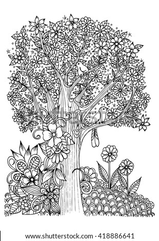 Flowers Black White Tree Birds Doodle Stock Photo (Photo, Vector ...
