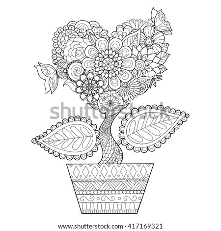 flowers in heart shape on a pot line art design for coloring book for adult - Book For Coloring
