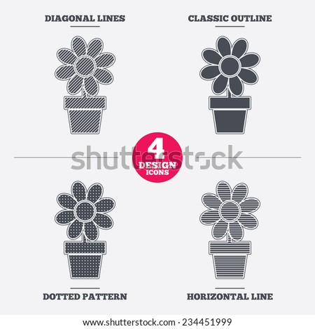 Flowers in pot icon. Bouquet of flowers with petals. Macro sign. Diagonal and horizontal lines, classic outline, dotted texture. Pattern design icons.  Vector - stock vector