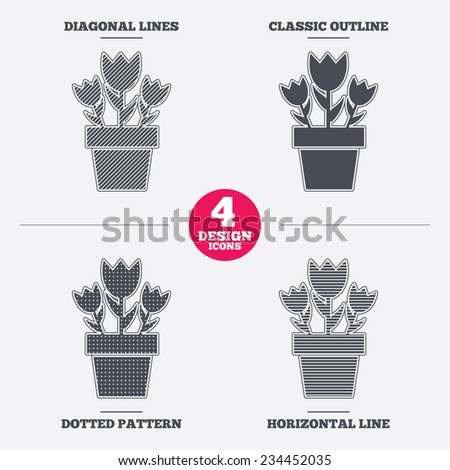 Flowers in pot icon. Bouquet of roses. Macro sign. Diagonal and horizontal lines, classic outline, dotted texture. Pattern design icons.  Vector - stock vector