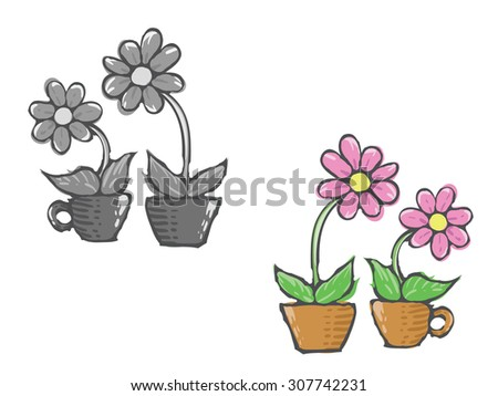 Flowers in pot. Vector drawing