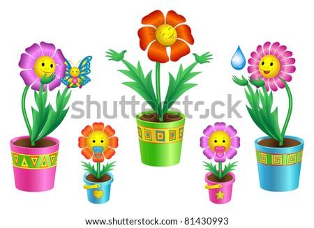 Flowers in pots - stock vector