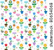 Flowers in pots - seamless vector pattern - stock vector