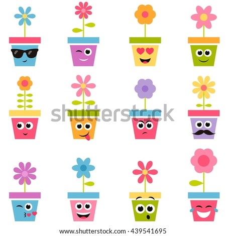 flowers in pots with smiley faces - stock vector
