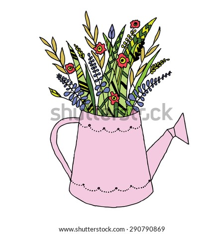 Flowers in the watering can