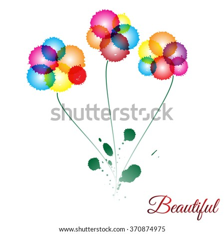 Flowers. Ink blots. Vector - stock vector