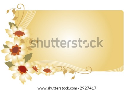 Flowers,leaves and swirls over a soft beige background, vector. - stock vector