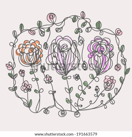 flowers line art illustration doodle style vector file - stock vector