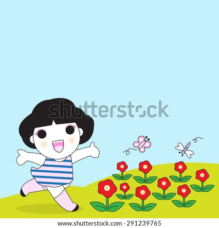 Flowers Make Me Smile illustration - stock vector