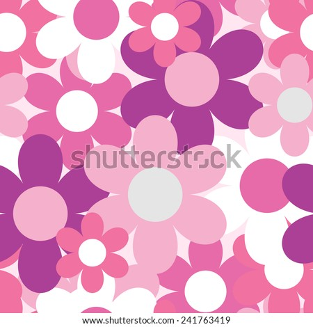 Flowers Nature Seamless Pattern Background Vector Illustration - stock vector
