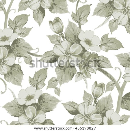 Flowers of Apple. Drawing, engraving. Freehand realistic. Beautiful background blooming retro flowers. White flowers isolated. Floral. Vintage vector illustration.