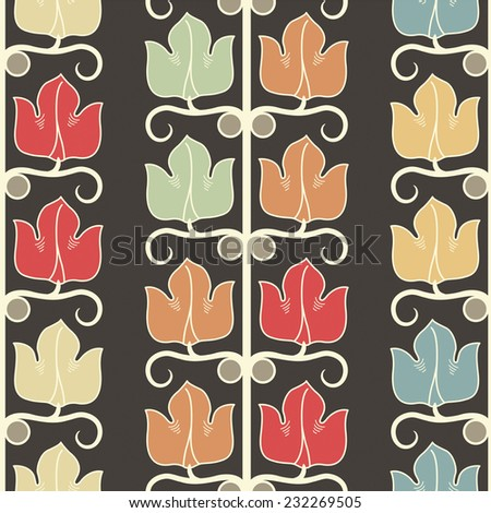 flowers on a dark background in seamless pattern - stock vector