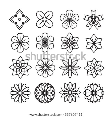 Flowers ornament icon,vector set - stock vector