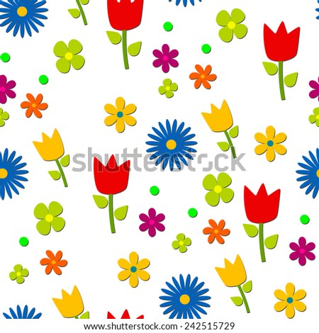 Flowers pattern, transparent background, vector. - stock vector
