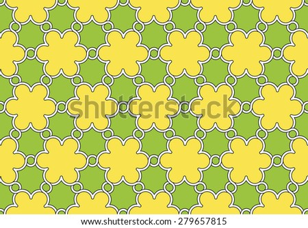 flowers pattern yellow and green ornament, vector illustration - stock vector