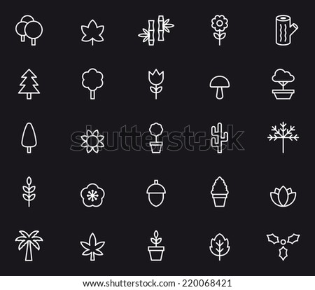 Flowers, Plants & Trees icons - stock vector