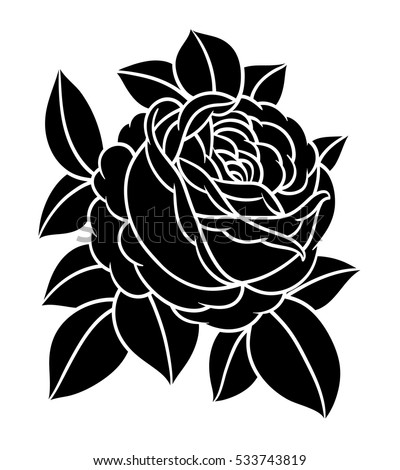 Flowers roses, black and white. Isolated on white background. Vector illustration.