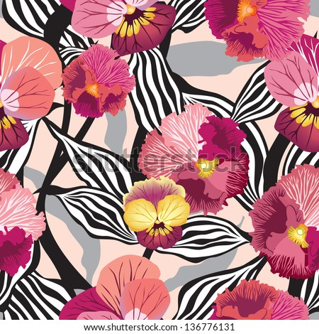 Flowers seamless background.  Floral seamless texture with flowers. Vector Graphic. - stock vector