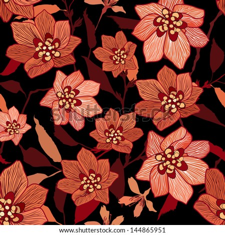 Flowers seamless background. Floral seamless texture with flowers. Vector Stylish Graphic. - stock vector