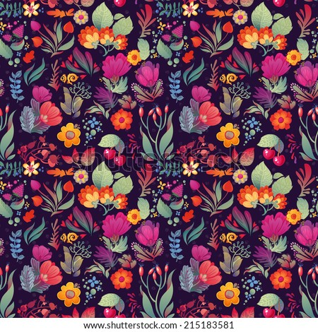 Flowers seamless pattern decorative vector card illustration Doodle funny plants - stock vector