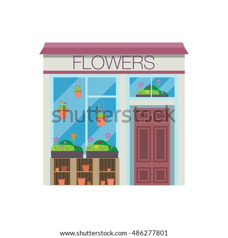 Flowers shop facade. bouquet of plants. Flat design vector illustration of small business concept. colorful cute front of flowers store
