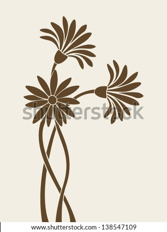 Flowers silhouettes. Vector illustration. - stock vector