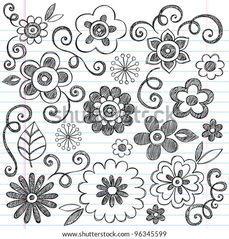 Flowers Sketchy Doodles Hand-Drawn Back to School Notebook Vector Illustration Design Elements on Lined Sketchbook Paper Background