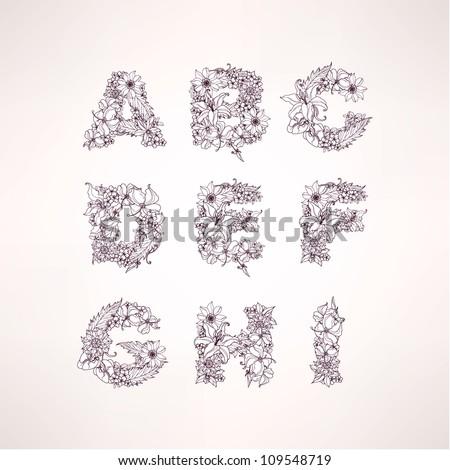 Flowers vector alphabet letters (a b c d e f g h i ) - stock vector