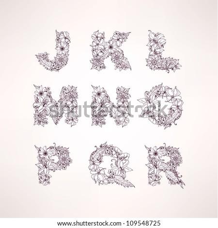 Flowers vector alphabet letters ( j k l m n o p q r ) - stock vector