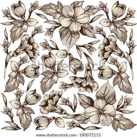 Flowers. Vector. Beautiful background with a flower ornament. Bouquets from flowers. - stock vector