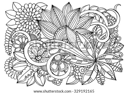 Flowers. Vector doodle floral pattern in black and white - stock vector
