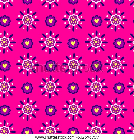 flowers wallpaper with hearts. girlish repeated backdrop in pink colors. abstract floral seamless pattern for girls, fashion textile, wrapping paper