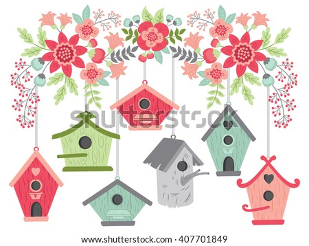 Flowers with Bird Houses - stock vector