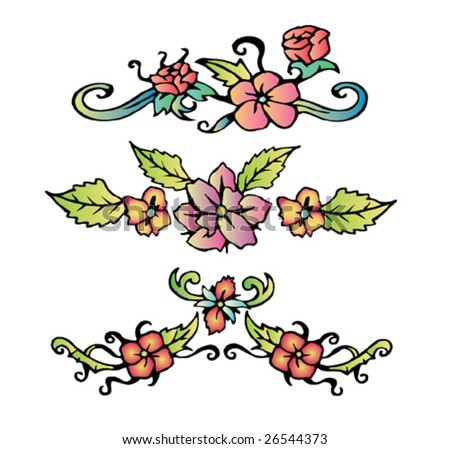 Flowers with leaves tattoo - stock vector