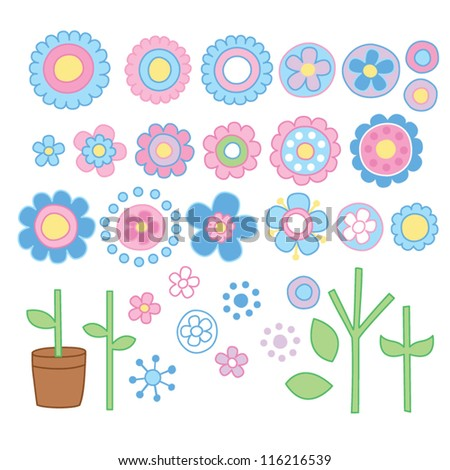 Flowers With Stems - stock vector