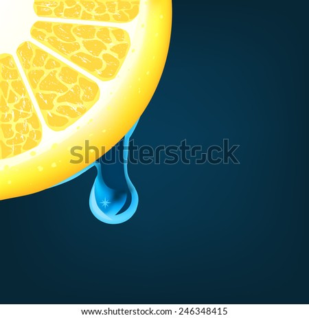 Flowing down drop on an lemon segment. Vector - stock vector