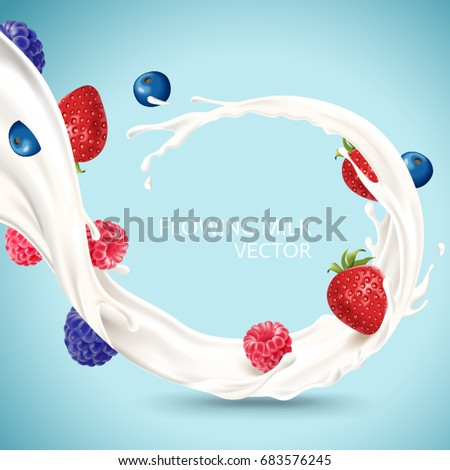 Flowing milk with fruits, refreshing milk with berries isolated on blue background in 3d illustration