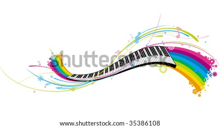 flowing piano keyboard
