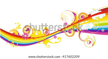 Flowing rainbow design with flowers, vector illustration