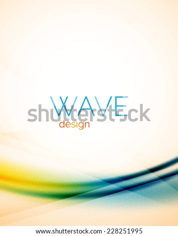 Flowing wave of blending colors, unusual blur abstract background - stock vector