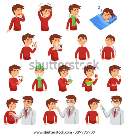 Flu illness cartoon icons with unhealthy people and doctors helping diseased patients flat vector illustration - stock vector