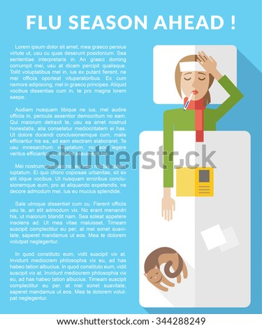 Flu season ahead. Information brochure template. Flu infographic with text area. - stock vector